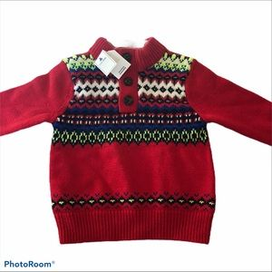 Baby Gap Boys Red button collar mock neck sweater